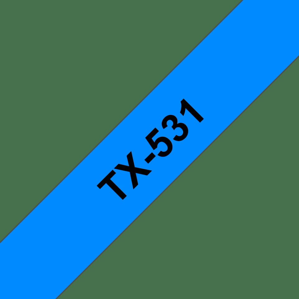Originele Brother TX-531 tapecassette – zwart op blauw, breedte 12 mm