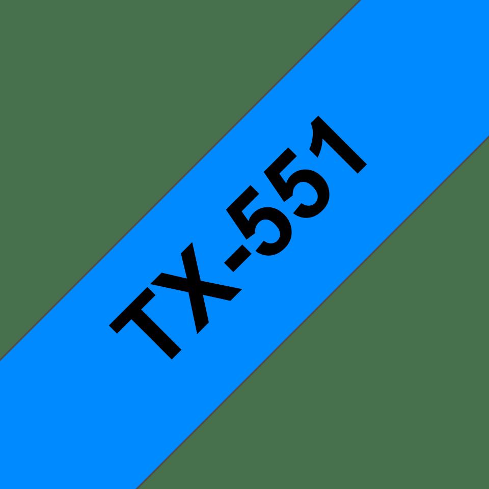 Originele Brother TX-551 label tapecassette – zwart op blauw, breedte 24 mm