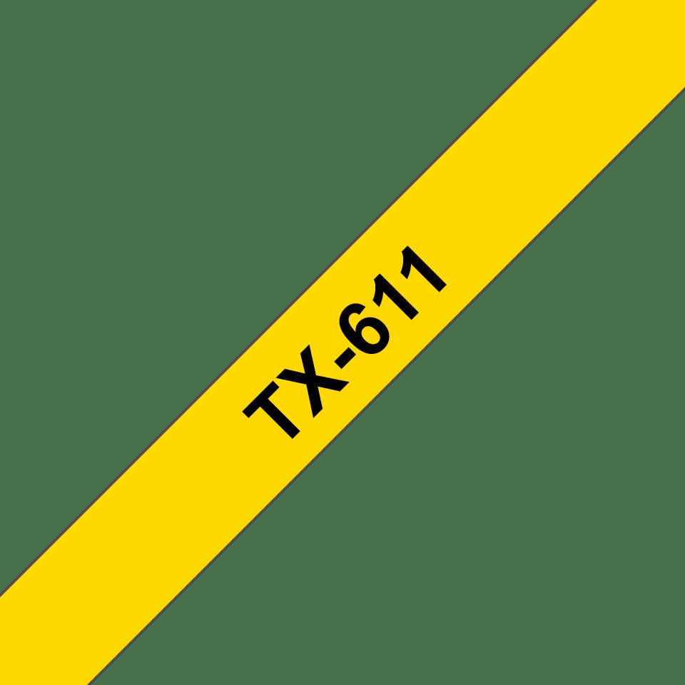 Originele Brother TX-611 label tapecassette – zwart op geel, breedte 6 mm