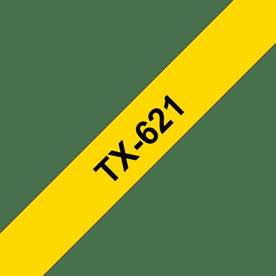Originele Brother TX-621 label tapecassette – zwart op geel, breedte 9 mm