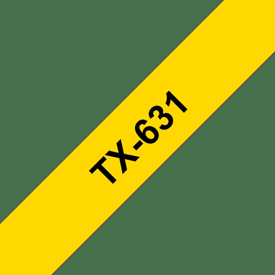 Originele Brother TX-631 label tapecassette – zwart op geel, breedte 12 mm