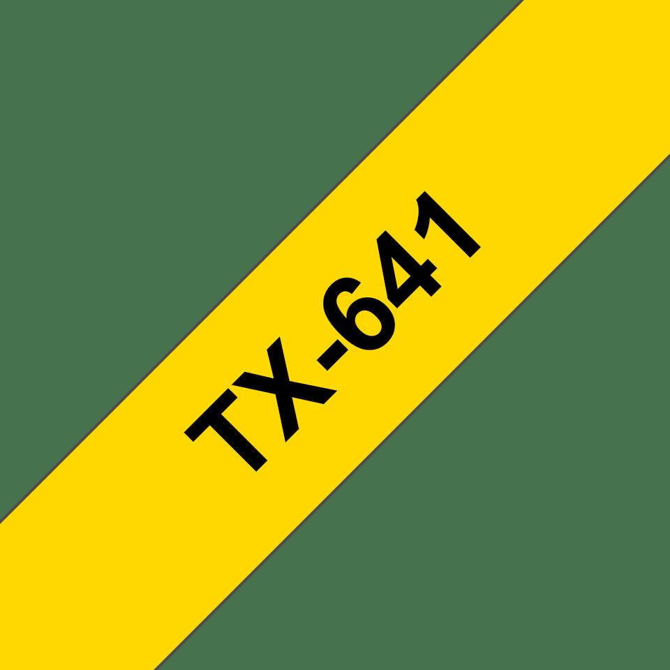 Originele Brother TX-641 label tapecassette – zwart op geel, breedte 18 mm