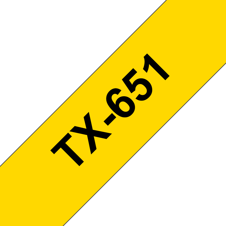 Originele Brother TX-651 labeltape – zwart op geel, breedte 24 mm