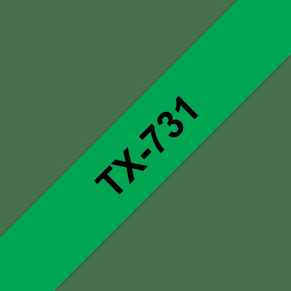 Originele Brother TX-731 label tapecassette – zwart op groen, breedte 12 mm