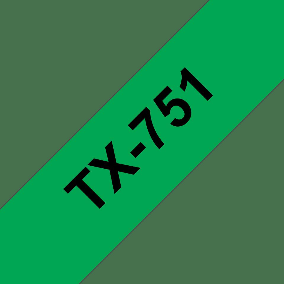 Originele Brother TX-751 label tapecassette – zwart op groen, breedte 24 mm