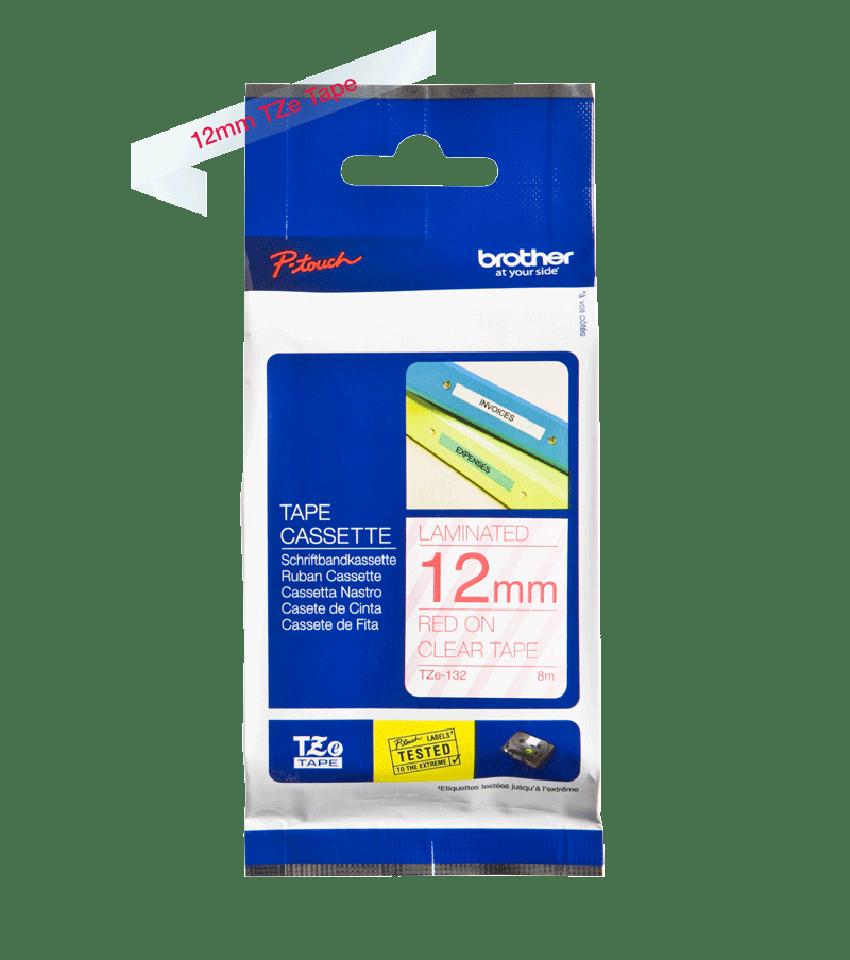 Originele Brother TZe-132 label tapecassette – rood op transparant, breedte 12 mm 3