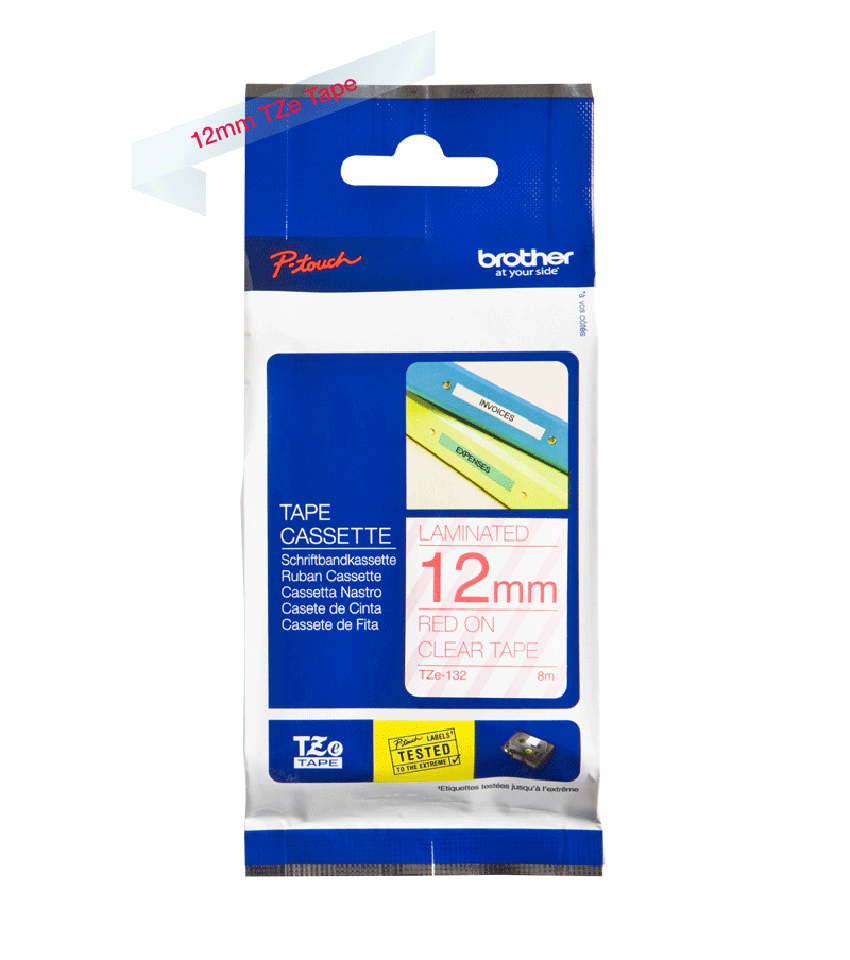 Originele Brother TZe-132 label tapecassette – rood op transparant, breedte 12 mm 2