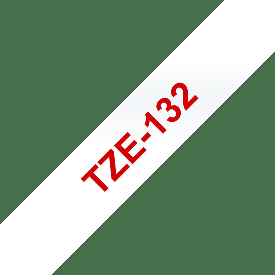 Originele Brother TZe-132 label tapecassette – rood op transparant, breedte 12 mm