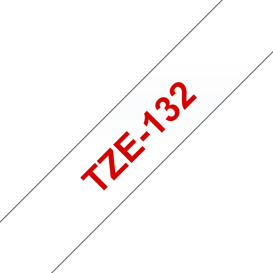 Originele Brother TZe-132 label tapecassette – rood op transparant, breedte 12 mm
