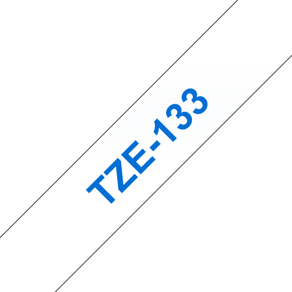 Originele Brother TZe-133 label tapecassette – blauw op transparant, breedte 12 mm