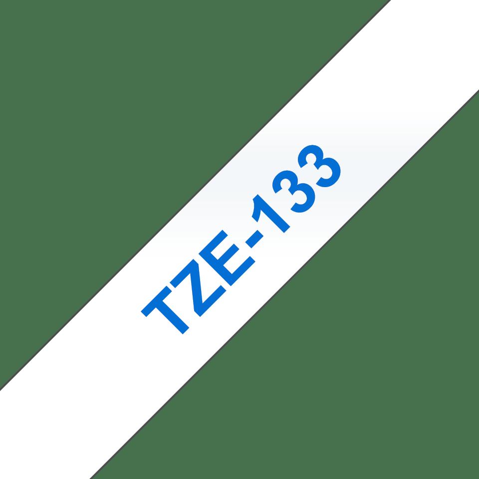 Originele Brother TZe-133 label tapecassette – blauw op transparant, breedte 12 mm