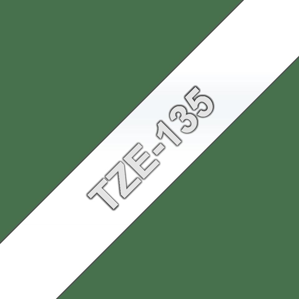 Originele Brother TZe-135 label tapecassette – wit op transparant, breedte 12 mm