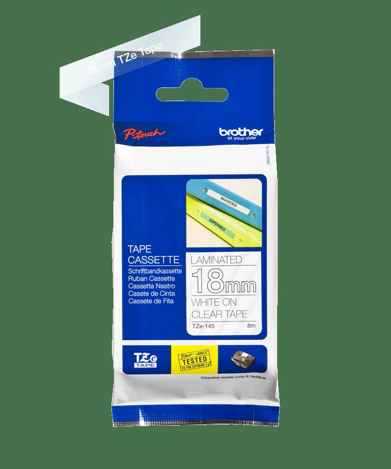 Originele Brother TZe-145 label tapecassette – wit op transparant, breedte 18 mm 3