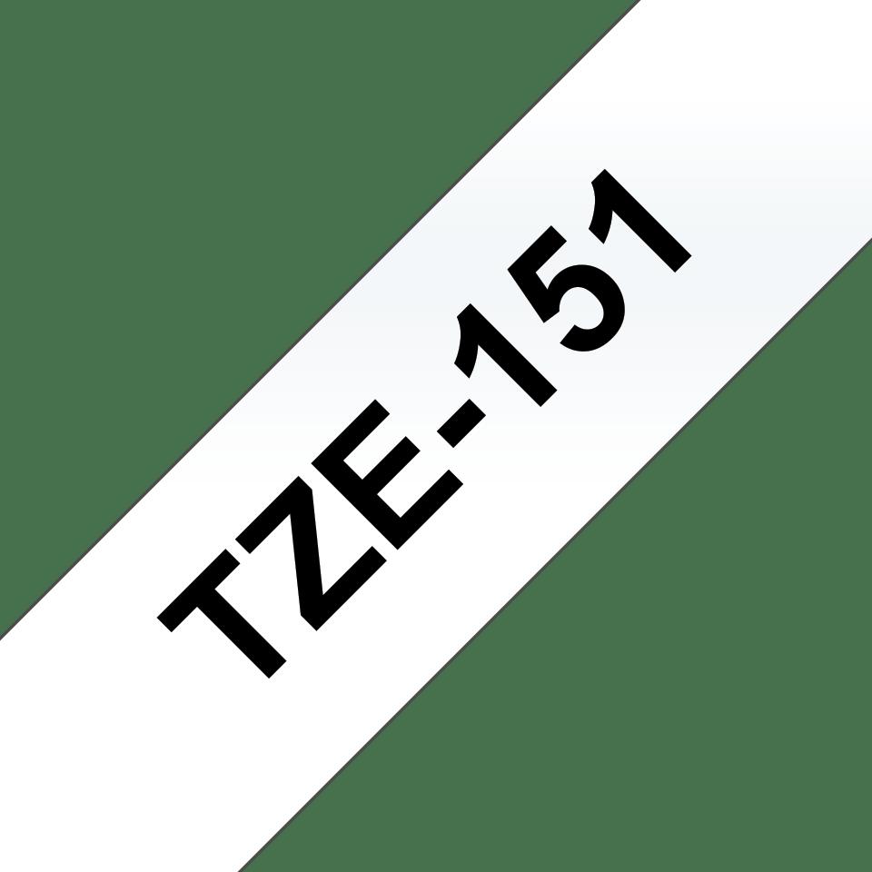 Originele Brother TZe-151 label tapecassette – zwart op transparant, breedte 24 mm