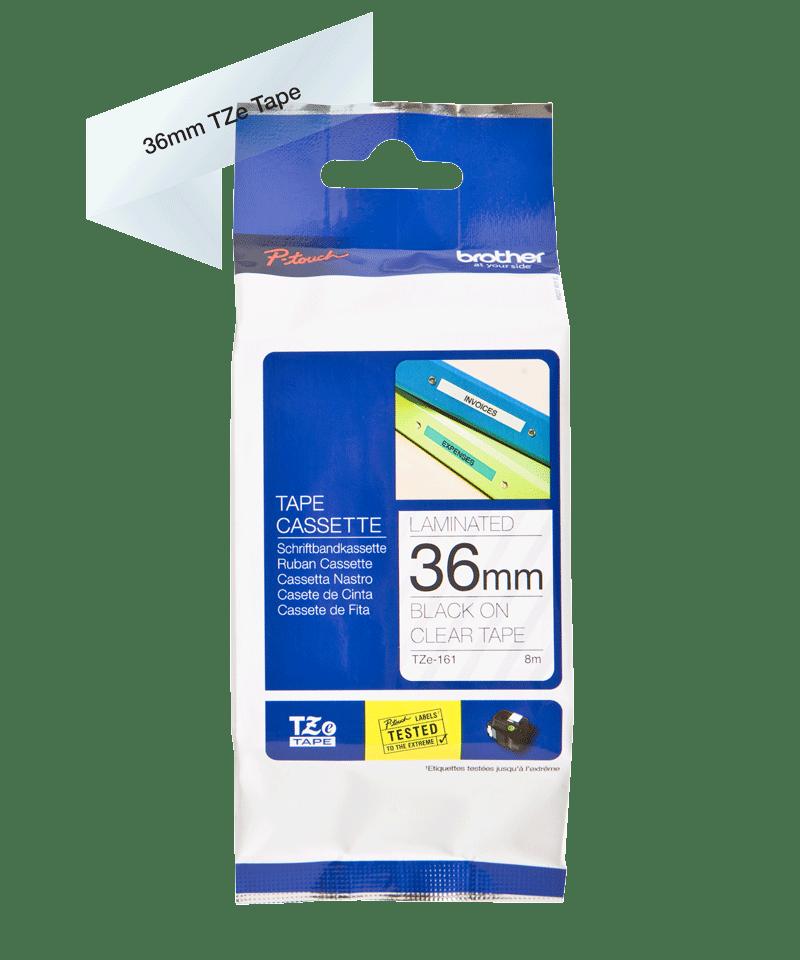 Originele Brother TZe-161 label tapecassette – zwart op transparant, breedte 36 mm 3