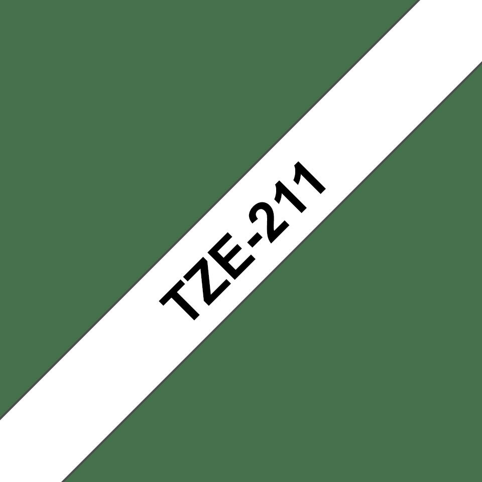 Originele Brother TZe-211 label tapecassette – zwart op wit, breedte 6 mm