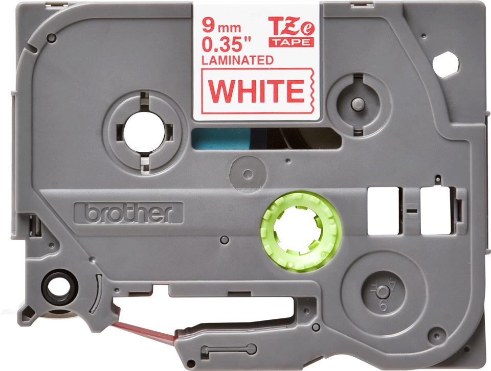 Originele Brother TZe-222 label tapecassette – rood op wit, breedte 9 mm