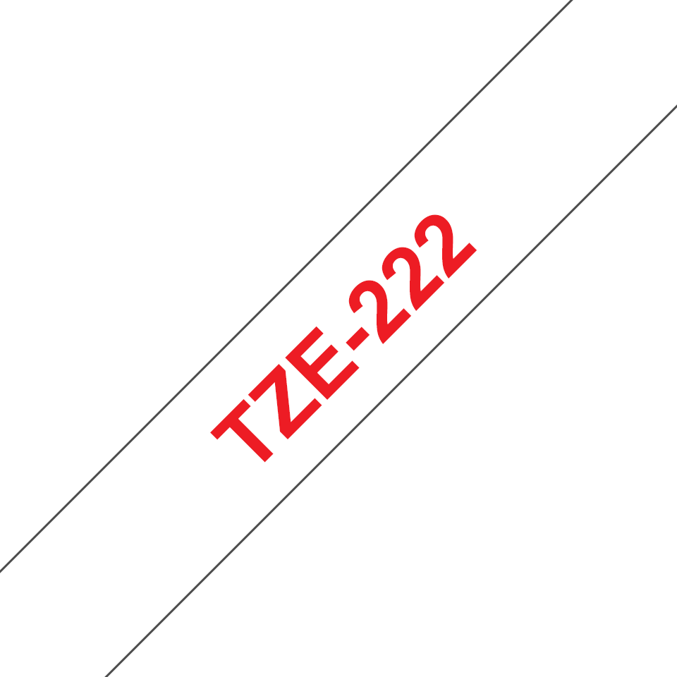 Originele Brother TZe-222 label tapecassette – rood op wit, breedte 9 mm