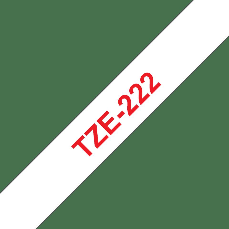 Originele Brother TZe-222 label tapecassette – rood op wit, breedte 9 mm 3