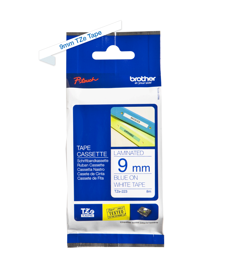 Originele Brother TZe-223 label tapecassette – blauw op wit, breedte 9 mm 3