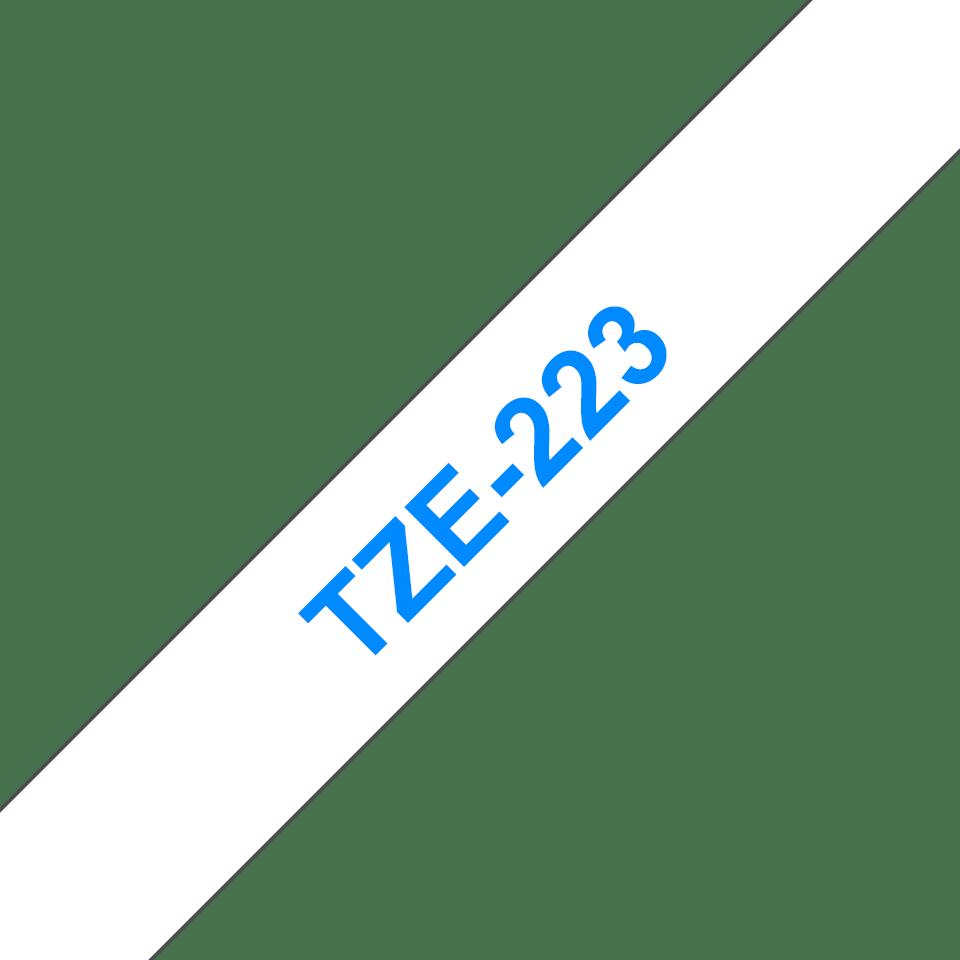 Originele Brother TZe-223 label tapecassette – blauw op wit, breedte 9 mm