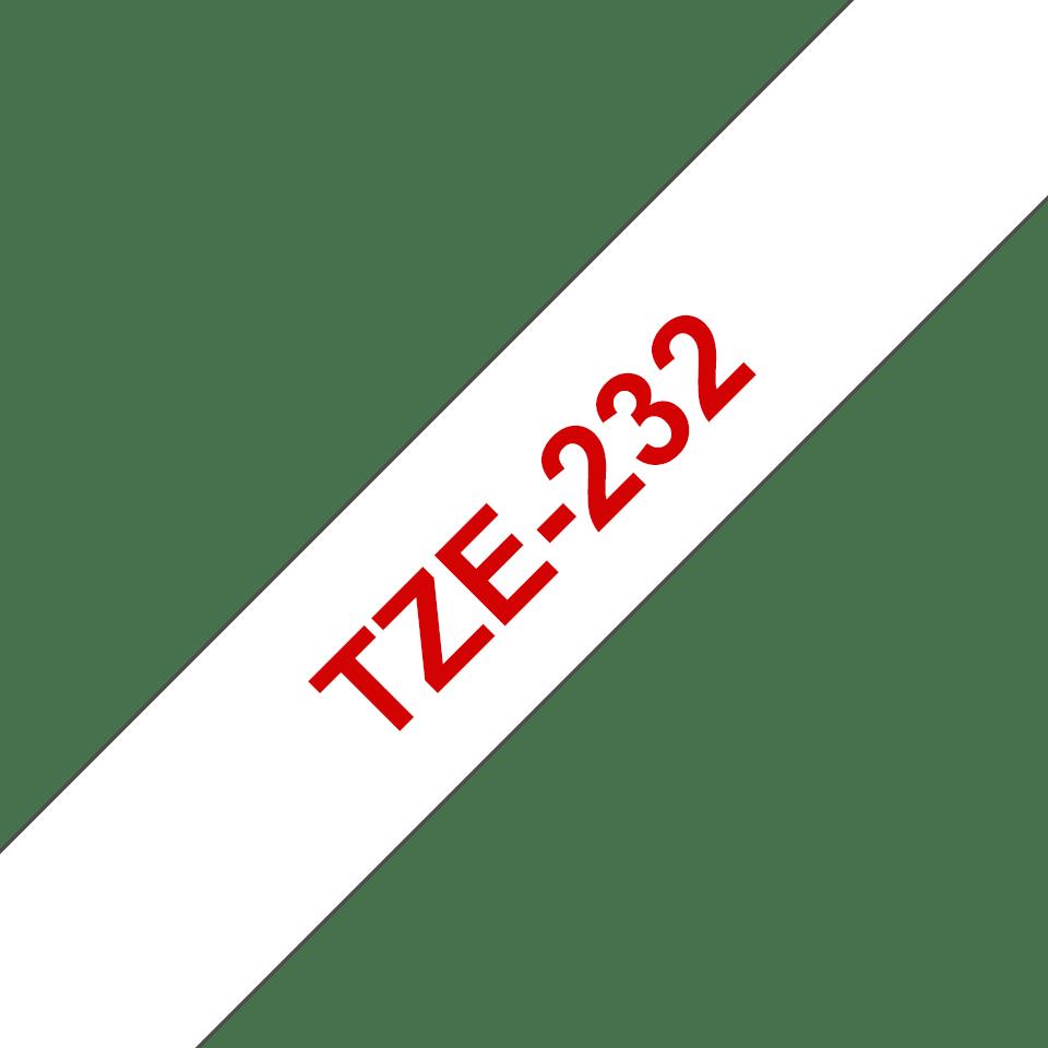 Originele Brother TZe-232 label tapecassette – rood op wit, breedte 12 mm