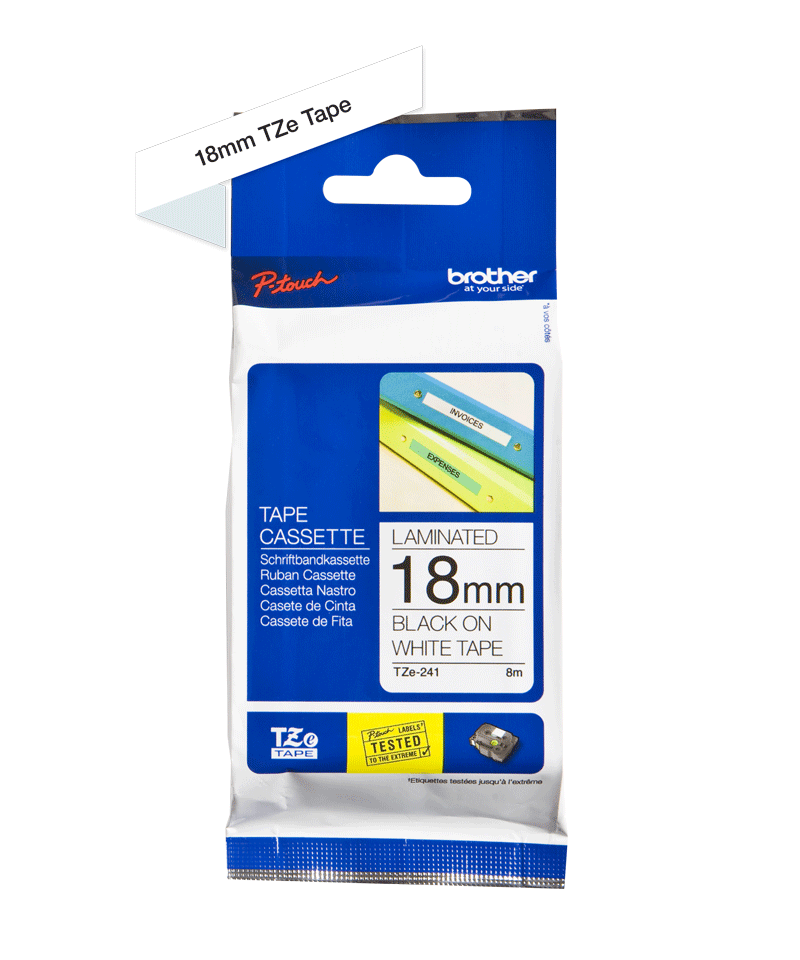 Originele Brother TZe-241 label tapecassette – zwart op wit, breedte 18 mm 3