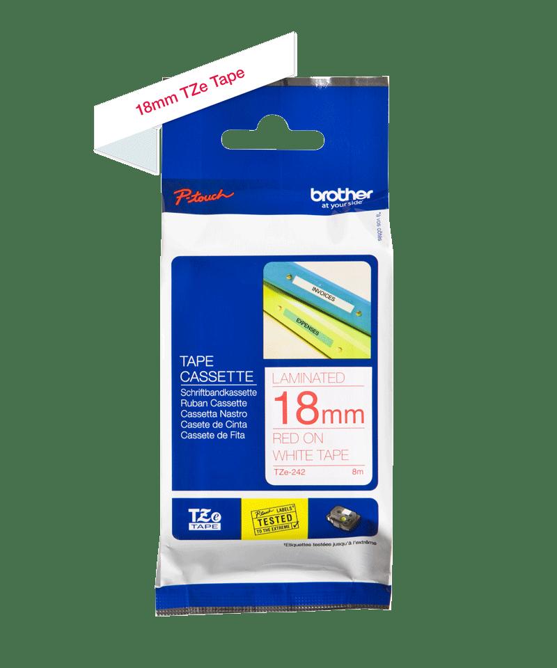 Originele Brother TZe-242 label tapecassette – rood op wit, breedte 18 mm 3
