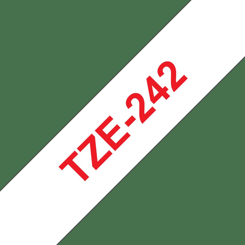 Originele Brother TZe-242 label tapecassette – rood op wit, breedte 18 mm