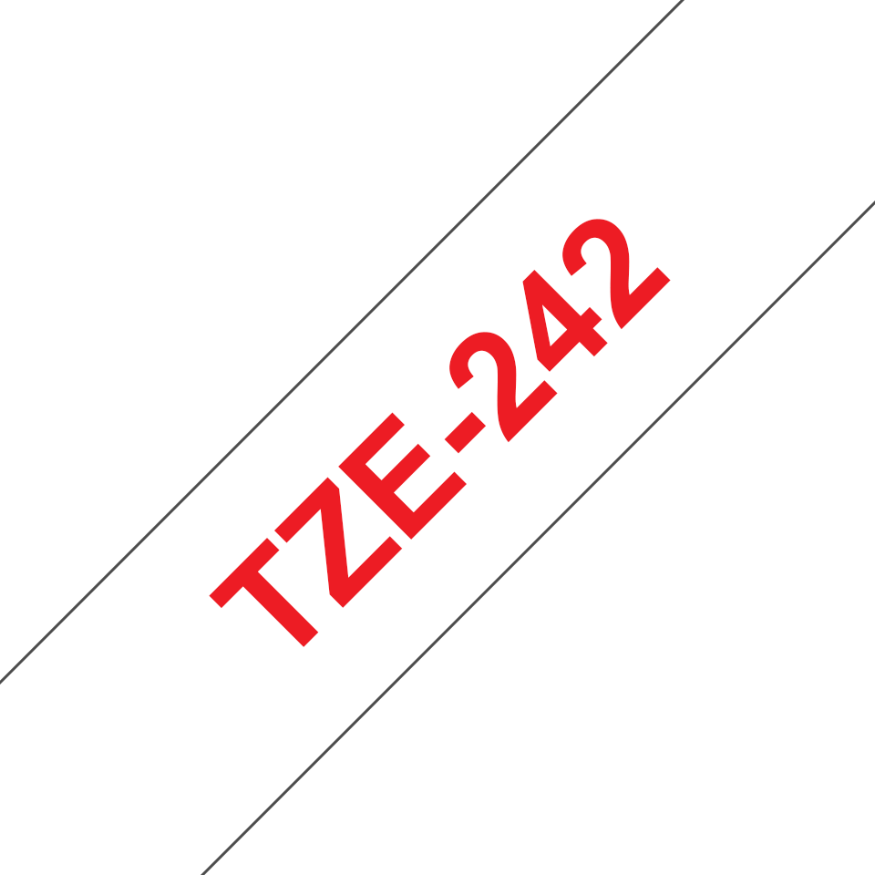 Originele Brother TZe-242 label tapecassette – rood op wit, breedte 18 mm