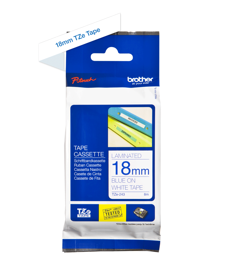 Originele Brother TZe-243 label tapecassette – blauw op wit, breedte 18 mm 3