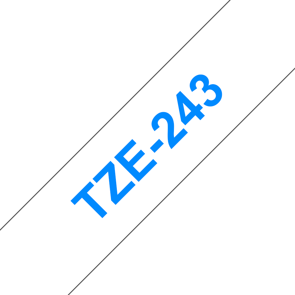 Originele Brother TZe-243 label tapecassette – blauw op wit, breedte 18 mm