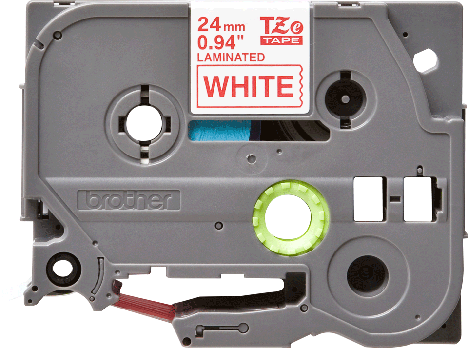 Originele Brother TZe-252 label tapecassette – rood op wit, breedte 24 mm 2