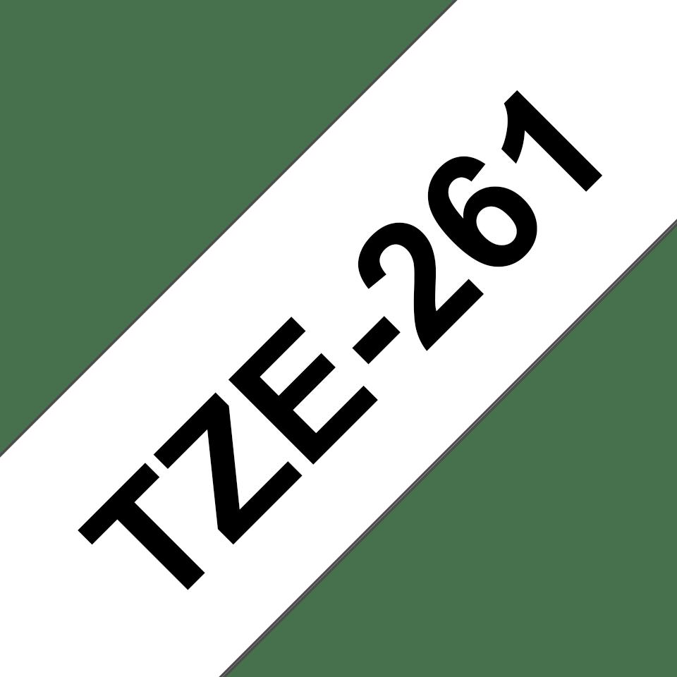 Originele Brother TZe-261 label tapecassette – zwart op wit, breedte 36 mm