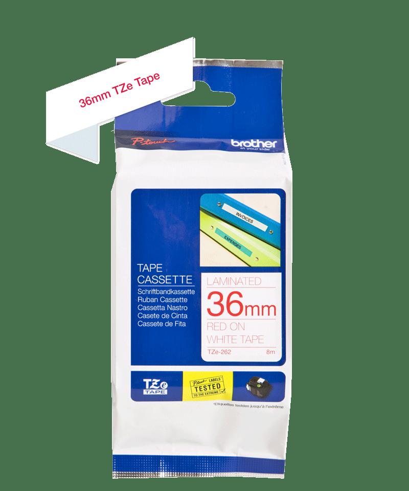 Originele Brother TZe-262 label tapecassette – rood op wit, breedte 36 mm 3