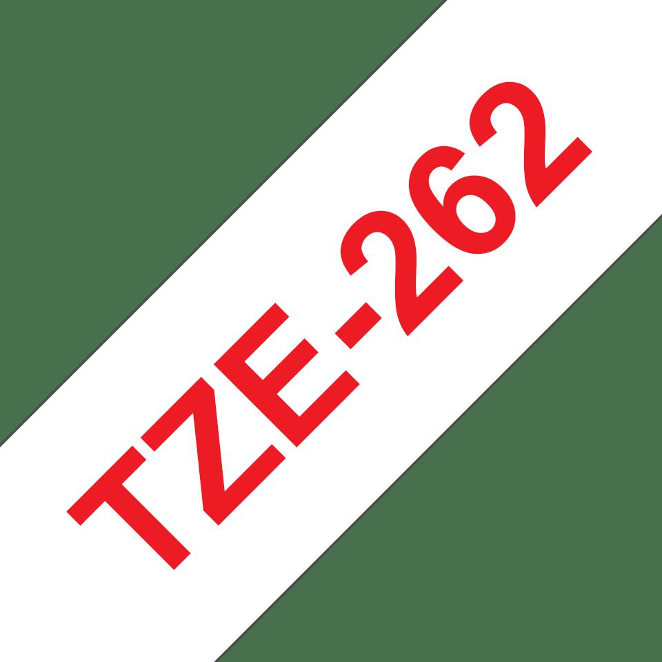 Originele Brother TZe-262 label tapecassette – rood op wit, breedte 36 mm