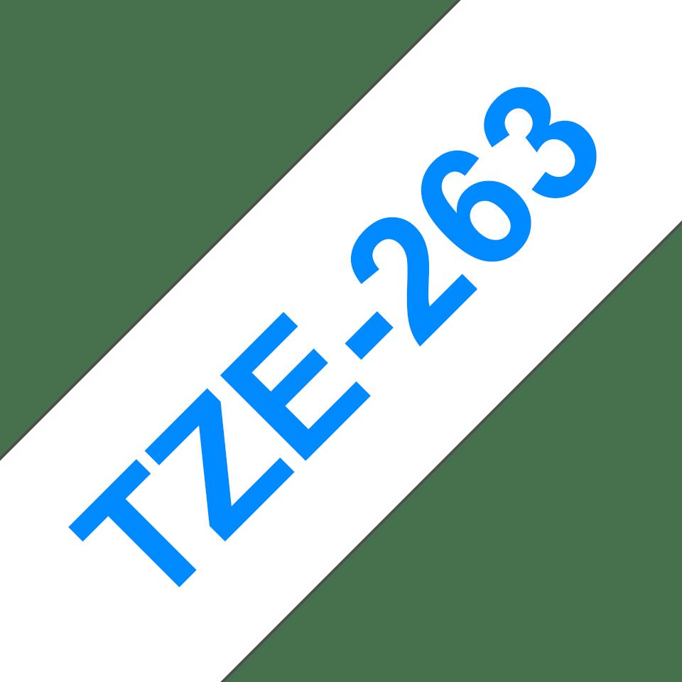 Originele Brother TZe-263 label tapecassette – blauw op wit, breedte 36 mm