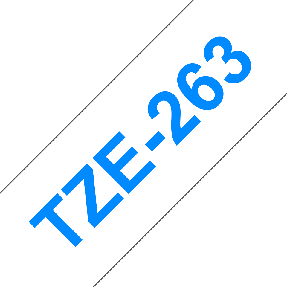 Originele Brother TZe-263 label tapecassette – blauw op wit, breedte 36 mm
