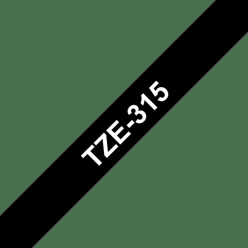 Originele Brother TZe-315 label tapecassette – wit op zwart, breedte 6 mm