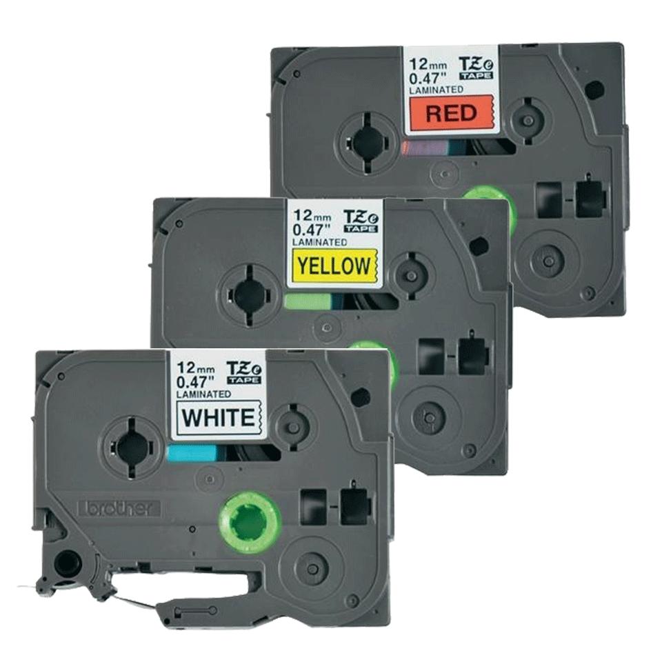 Originele Brother TZe-31M3 label tapecassette – zwart op rood, wit, geel, breedte 12 mm 3