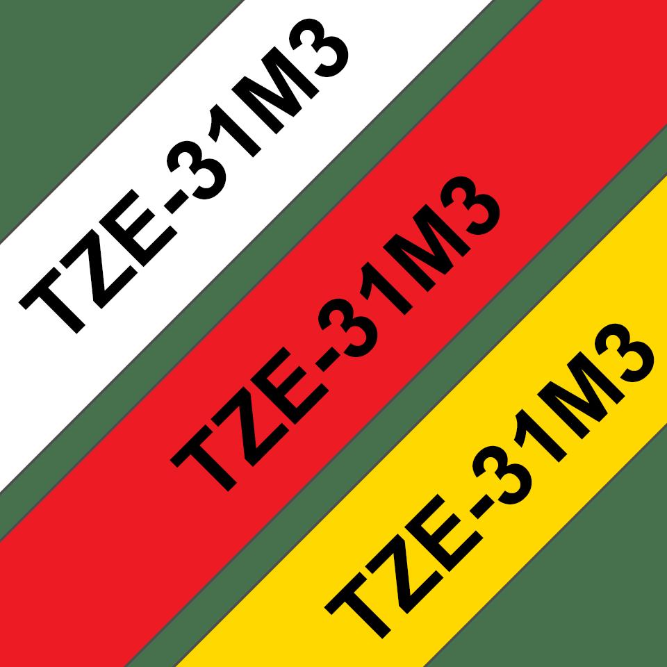 Originele Brother TZe-31M3 label tapecassette – zwart op rood, wit, geel, breedte 12 mm
