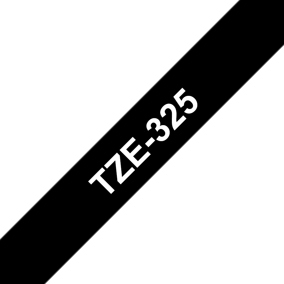 Originele Brother TZe-325 label tapecassette – wit op zwart, breedte 9 mm