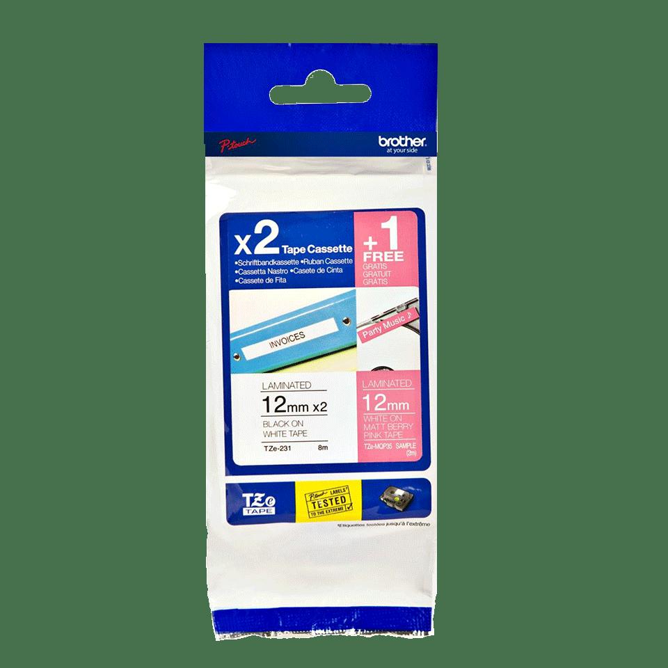 Originele Brother TZe-32M3  label tapecassette voordeel verpakkking – 2x zwart op wit, 1x wit op mat fluorescerend bessenroze, breedte 12 mm 2