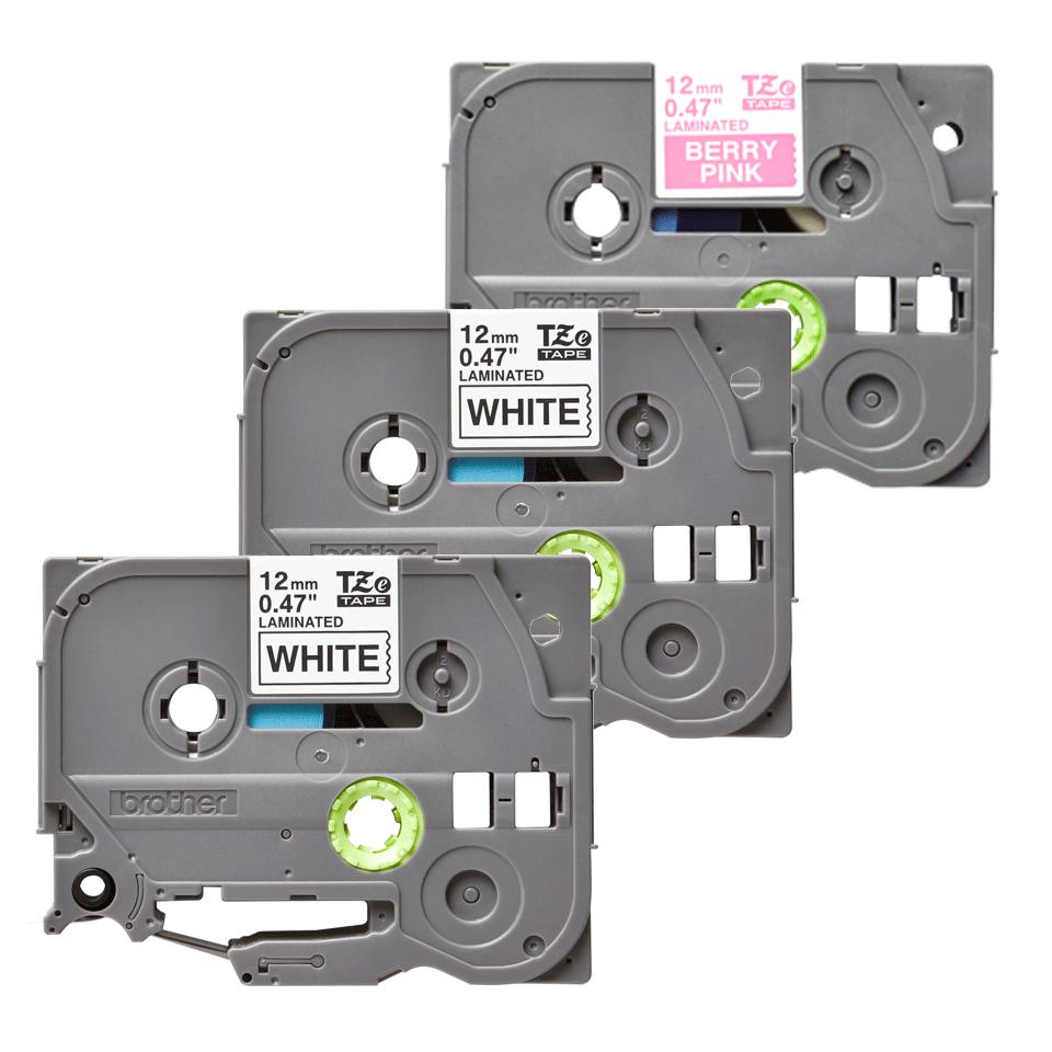 Originele Brother TZe-32M3  label tapecassette voordeel verpakkking – 2x zwart op wit, 1x wit op mat fluorescerend bessenroze, breedte 12 mm 3