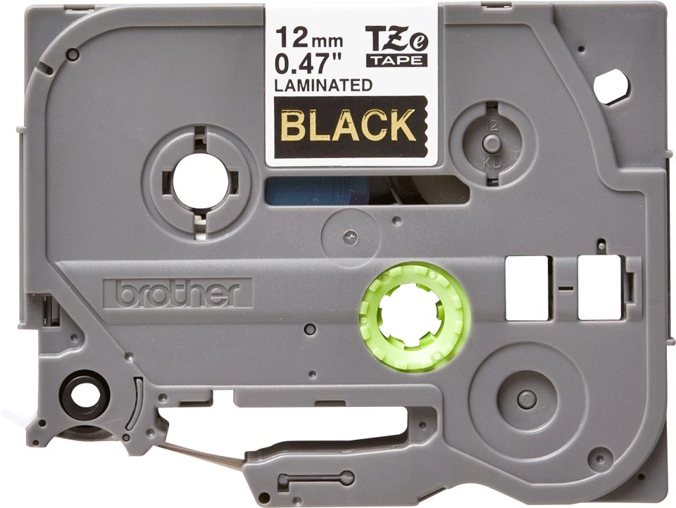 Originele Brother TZe-334 label tapecassette – goud op zwart, breedte 12 mm