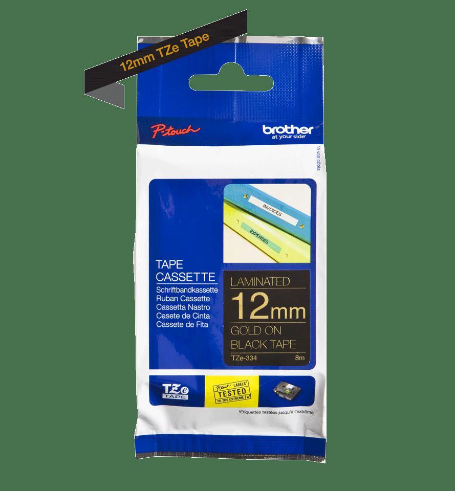 Originele Brother TZe-334 label tapecassette – goud op zwart, breedte 12 mm 3