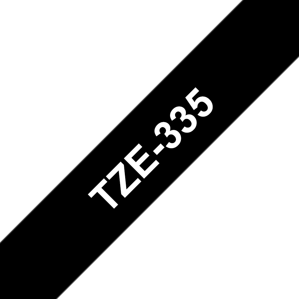 Originele Brother TZe-335 labeltape – wit op zwart, breedte 12 mm