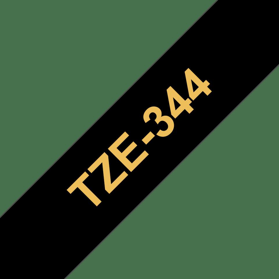 Originele Brother TZe-344 label tapecassette – goud op zwart, breedte 18 mm
