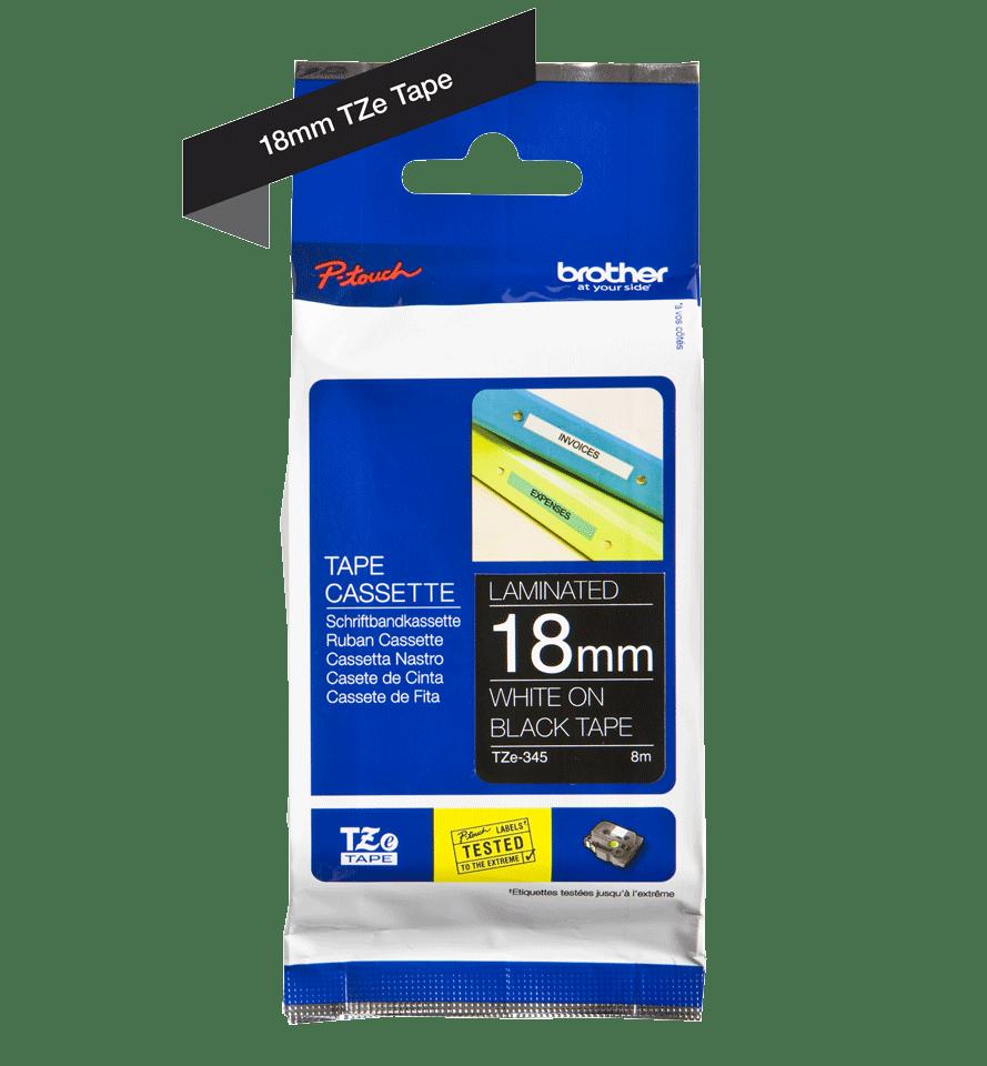 Originele Brother TZe-345 label tapecassette – wit op zwart, breedte 18 mm 3