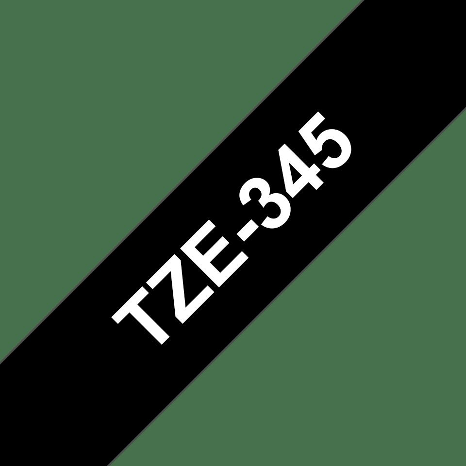 Originele Brother TZe-345 label tapecassette – wit op zwart, breedte 18 mm